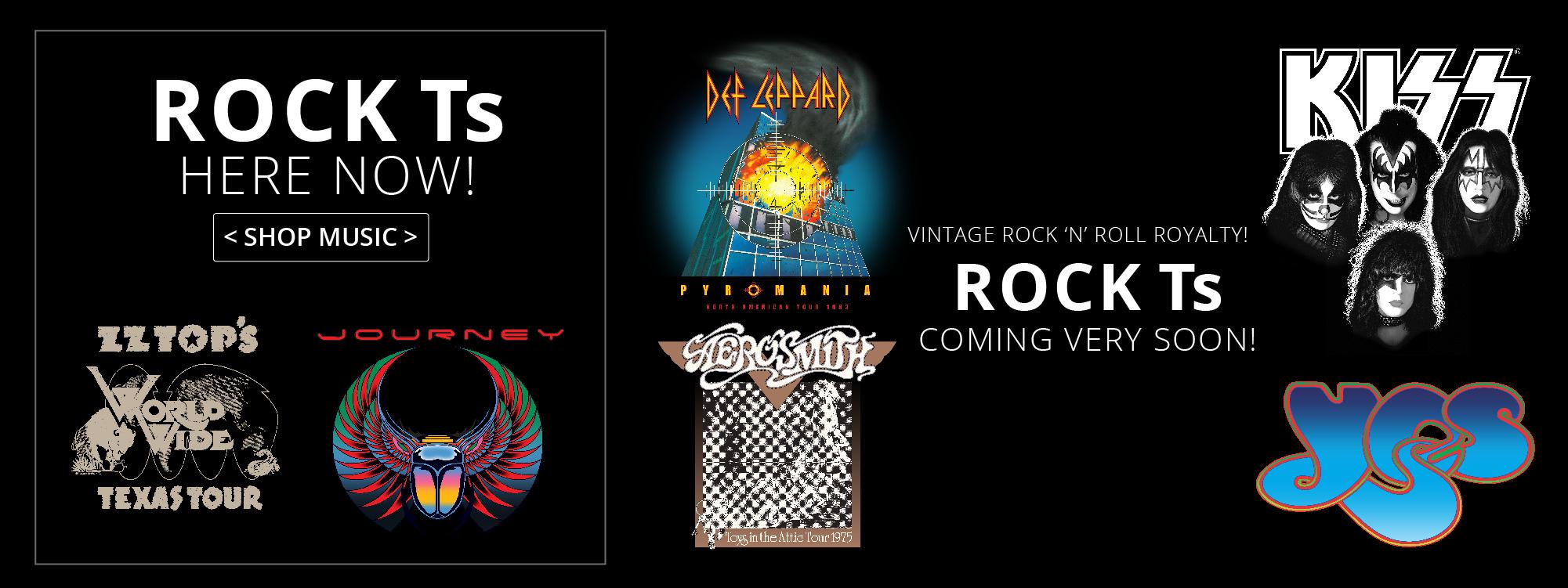 vintage rock t-shirts, Kiss t-shirts, journey t-shirts, yes t-shirts, rock tour t-shirts, Def leppard, zz top, aerosmith