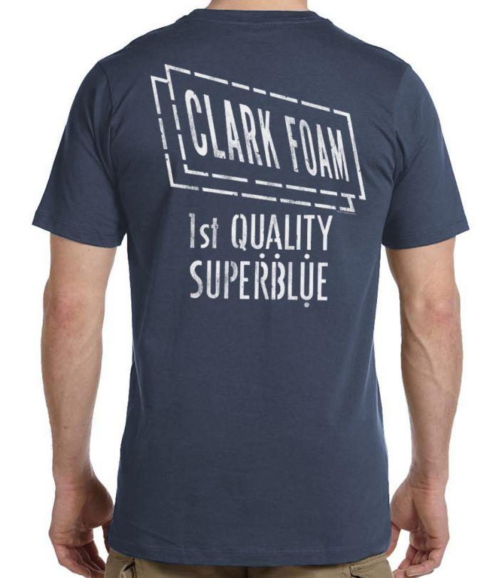 Clark Foam Super Blue Retro Stencil T-Shirt