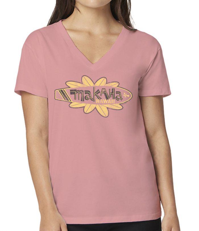 Makaha Surf Retro Flower V-Neck T-Shirt