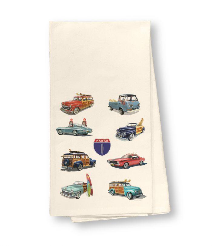 HI Hwy 1 Cars Flour Sack Dish Towel