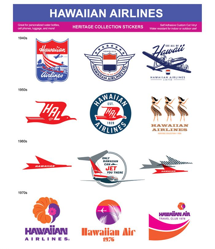 Hawaiian Airlines Heritage Stickers