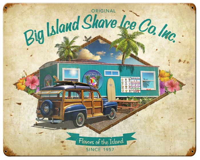 Big Island Shave Ice Vintage Metal Sign