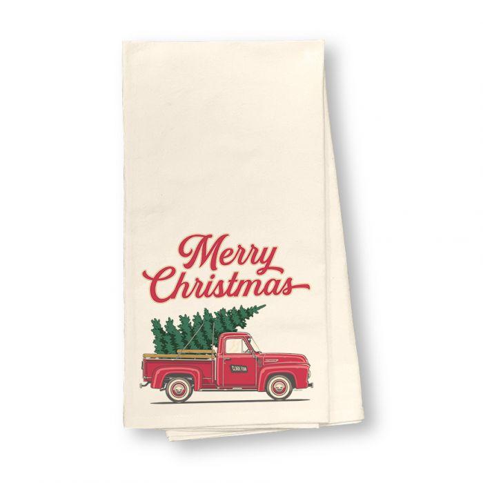Christmas Tree Truck Flour Sack Dish Towel