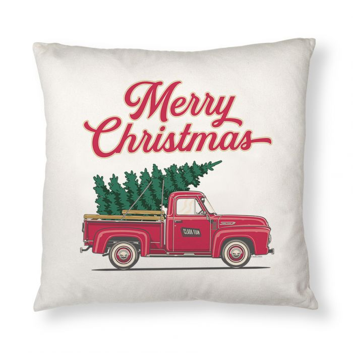Christmas Tree Truck Throw Pillow Case