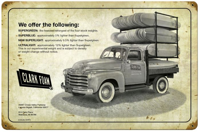 Clark Foam Truck Vintage Metal Sign