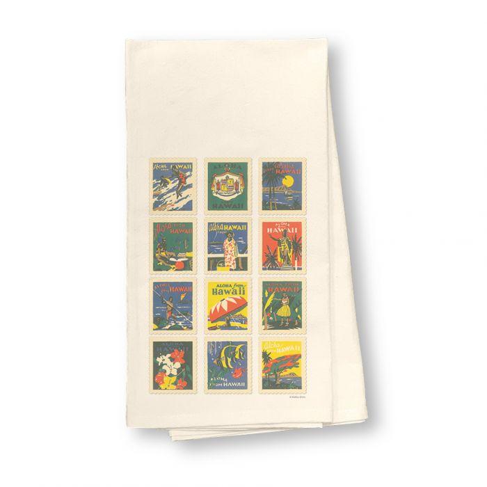 Hawaii Stamps Flour Sack Dish Towel