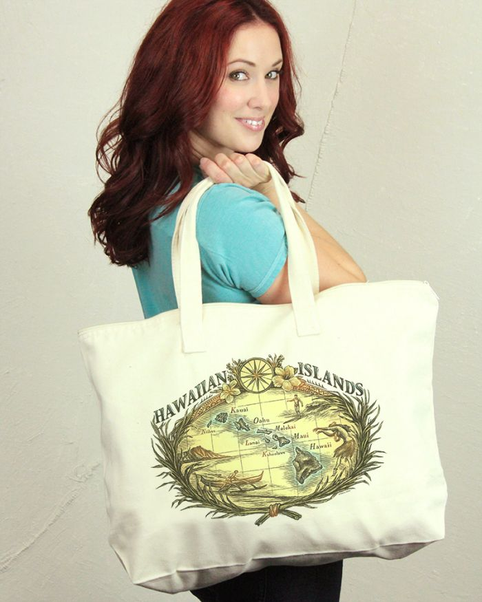 Hawaiian Islands Zip Tote