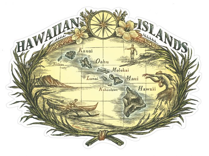 Hawaiian Wood Cut Sticker