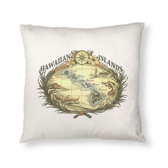 Hawaiian Woodcut Throw Pillow Cover