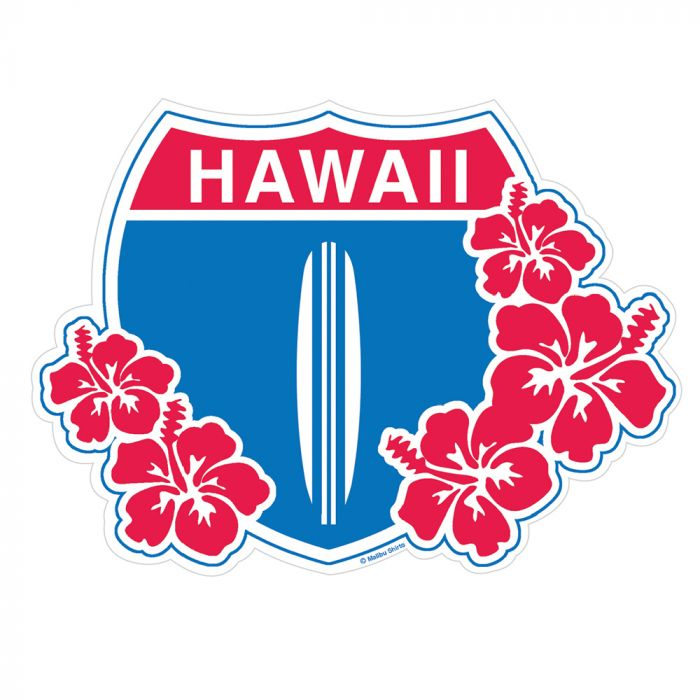 HI Hwy 1 Floral Sticker