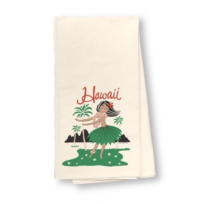 Hula Girl Flour Sack Dish Towel
