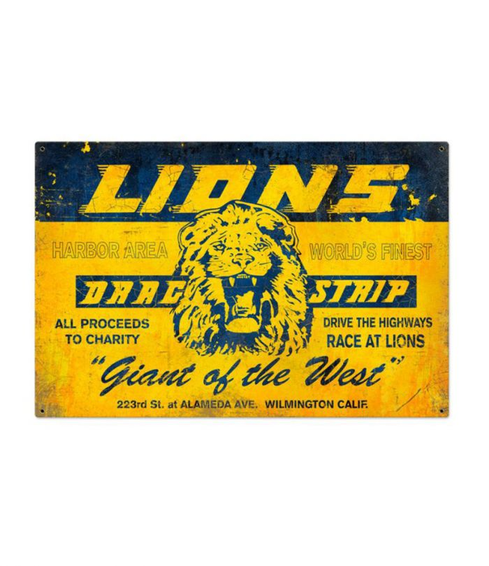 Lions Drag Strip Giant of the West Lg Metal Sign