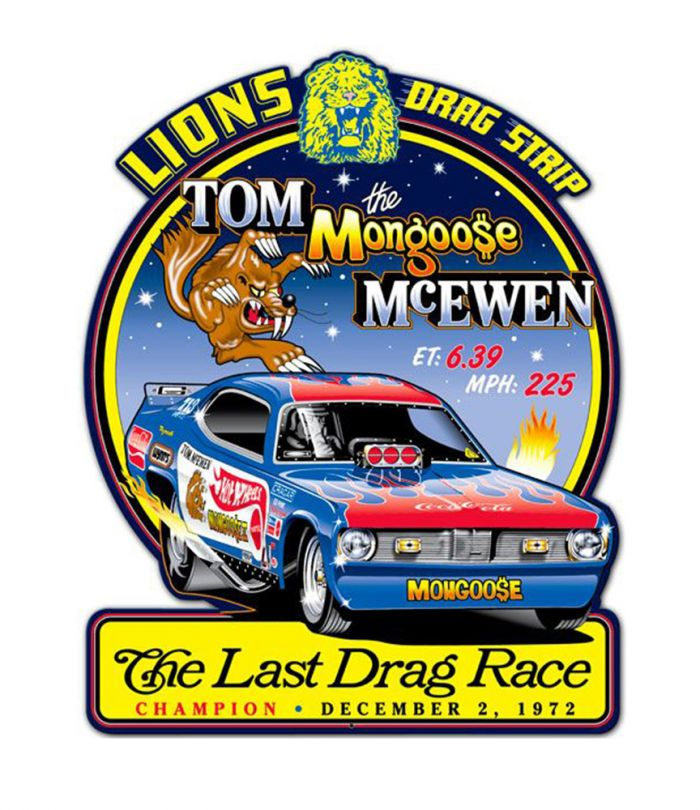Lions Tom Mongoose Last Drag Metal Sign