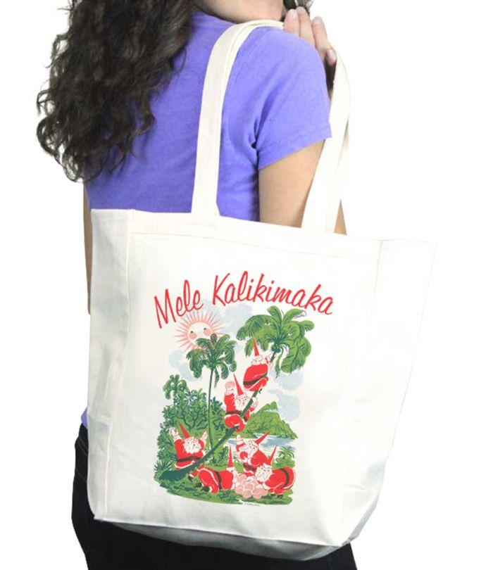 Mele Kalikimaka Santa Tote Bag