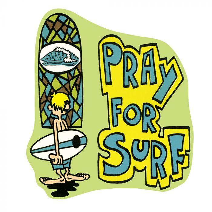 Retro Pray For Surf Sticker