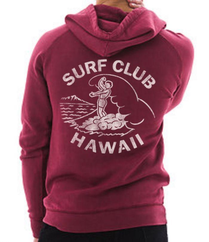 Surf Club Hawaii Raglan Vintage Pullover Hoodie