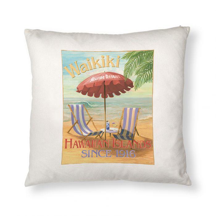 Waikiki Seaside Hotel Throw Pillow Cover