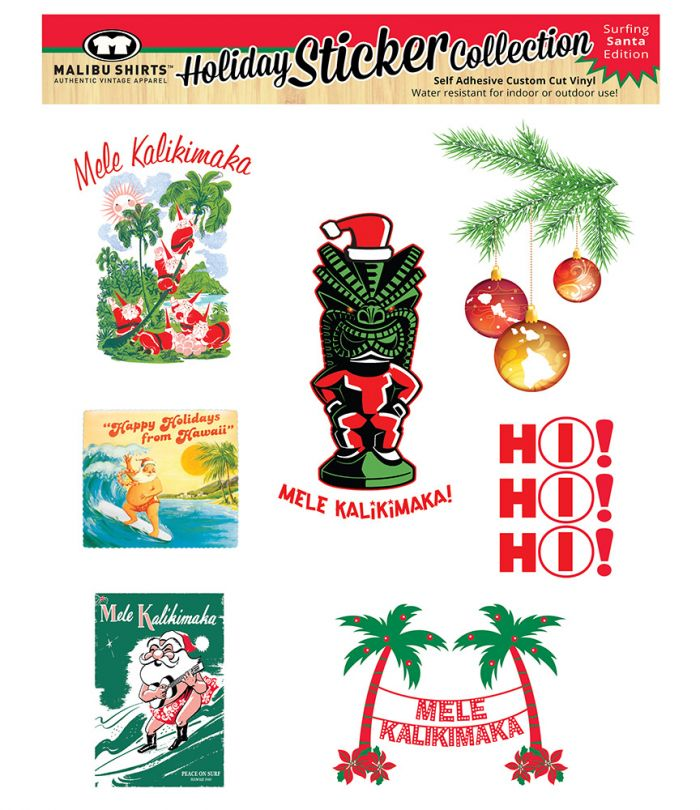Christmas Stickers Surfing Santa Edition