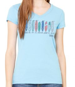 Clark Foam Color Sketch Women's V-Neck T-Shirt