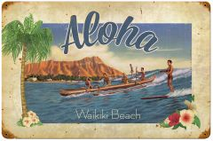 Aloha Waikiki Vintage Metal Sign