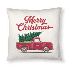 Christmas Tree Truck Throw Pillow Case