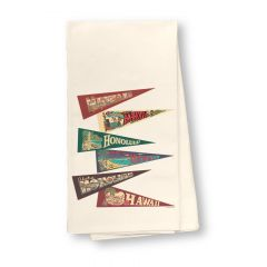 Hawaii Pennants Flour Sack Dish Towel