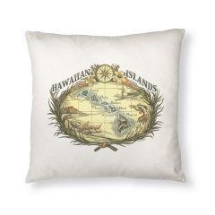 Hawaiian Woodcut Throw Pillow Cover