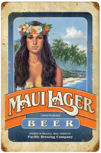 Maui Lager Beer Vintage Metal Sign