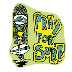Retro Pray For Surf Sticker