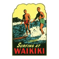 Surfing at Waikiki Sticker
