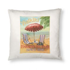 Waikiki Seaside Hotel Throw Pillow Cover