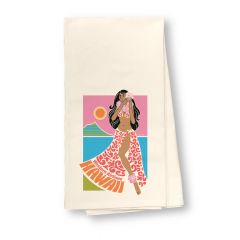 Western Airlines Hula Flour Sack Dish Towel