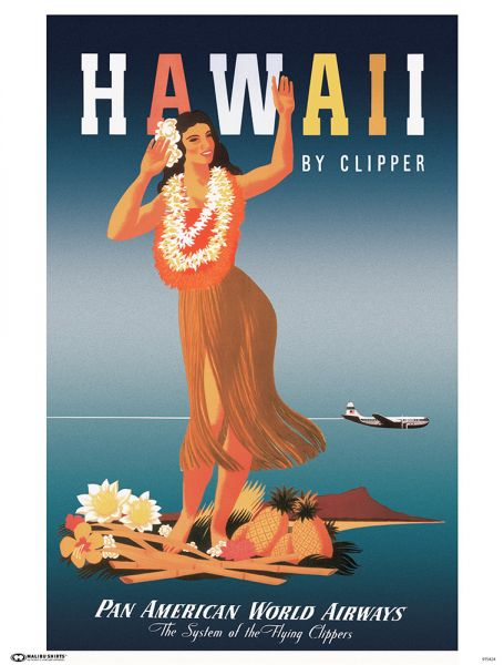 Pan Am Hawaii Hula Poster